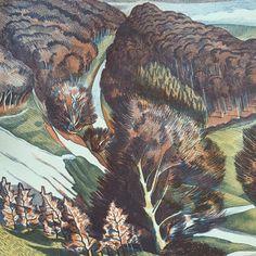 John Nash's cover for the 1940 'Beautiful Britain' Calendar for Country Life (lithograph). Printed at the Curwen Press John Nash, Natural World, Vintage Books, Country Life, Book Covers, Britain, Calendar, Landscapes, Printed