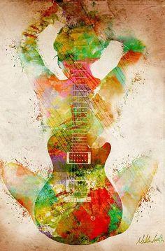 Top Abstract Art ★music Dream Large★ Home Decor Oil Painting Art Amour, Guitar Art, Music Guitar, Guitar Body, Love Art, Amazing Art, Fine Art America, Street Art, Abstract Art