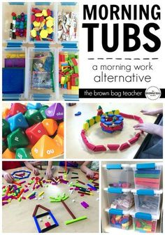 "Grade Morning Work Alternative Replacing morning work with ""Morning Tubs."" Encouraging a hands-on, social, play-based start to the day.Replacing morning work with ""Morning Tubs."" Encouraging a hands-on, social, play-based start to the day. Kindergarten Morning Work, Kindergarten Classroom, Classroom Activities, Classroom Ideas, Kindergarten Centers, Kindergarten Routines, 1st Grade Centers, 1st Grade Activities, Classroom Routines"