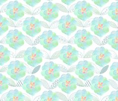Flora custom wallpaper by kayajoy for sale on Spoonflower Pillow Room, Pattern Wallpaper, Fabric Wallpaper, Custom Wallpaper, Paint Shop, Textile Patterns, Custom Fabric, Surface Design, Wall Decals