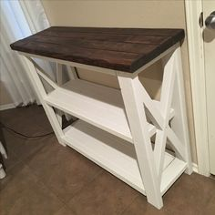 DIY | Rustic X table/console. Modified Ana White design. Put in the kitchen to use as coffee bar. Farmhouse style.