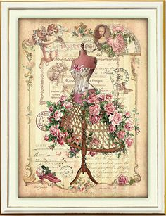 Free Printable - Vintage card topper - Dress form W/roses.. 4 3/4  6 1/8 with frame