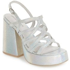 Jeffrey Campbell 'Lelaina' Platform Sandal (Women) (2.600 RUB) ❤ liked on Polyvore featuring shoes, sandals, multi glitter, strappy leather sandals, ankle strap platform sandals, platform sandals, strappy sandals and ankle strap shoes