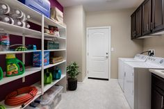 Open shelving with staggered heights for different-sized dry goods