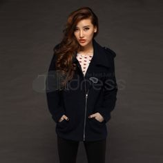 Wool Coats-Blue casual wool coat