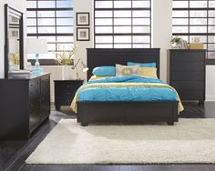 Diego Casual Black Solid Wood 5pc Bedroom Set w/King Bed