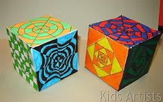 op art cubes from an art lesson blog.. I used this idea for a presentation with other teachers and it was a hit!
