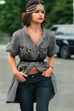 Miroslava Duma in Chanel headpiece and jacket