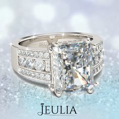 Emerald Cut White Sapphire Rhodium Plated Sterling Silver Women's Engagement Ring #jeulia