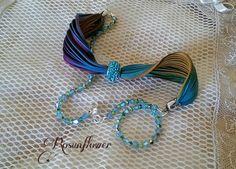Bracciale di seta,  cristalli swarovski acquamarina / argento 925 / regalo originale, fatto a mano / estate colori
