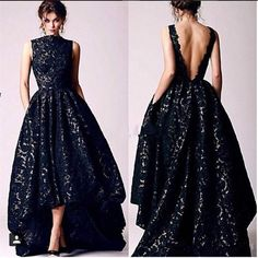 Arabic Hi Lo Black Lace Prom Dresses Vintage 2016 Occasion High Neck Backless Formal Party Prom Dress