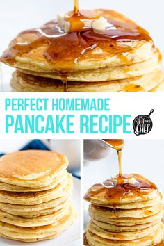 The Perfect Homemade Pancake Recipe is easy to make with ingredients you probably already have on hand. This recipe can easily be turned into a pancake mix or into buttermilk pancakes as well. It& the perfect versatile all-in one recipe. Tasty Pancakes, Homemade Pancakes, Pancakes And Waffles, Buttermilk Pancakes, Waffle Recipes, Pancake Recipes, Crepe Recipes, Brunch Recipes, Yummy Recipes