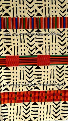 African 100 Cotton Beige and Orange Kente by TessWorldDesigns, $5.50