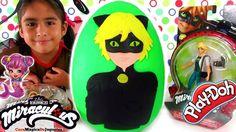 Huevo Sorpresa Gigante de Cat Noir de Miraculous LadyBug de Plastilina P...
