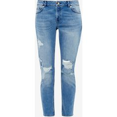 Ted Baker Ripped boyfriend fit jeans (160 CHF) ❤ liked on Polyvore featuring jeans, pants, bottoms, denim, destroyed boyfriend jeans, destroyed denim jeans, denim jeans, blue boyfriend jeans and ripped jeans