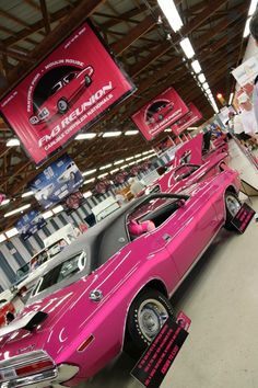 70 Dodge Challenger R/T-SE 383 4spd in Panther Pink with magenta side stripes.