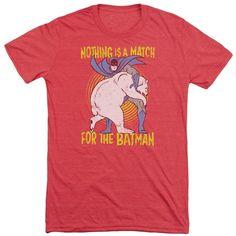 Batman Bear Wrastling Adult Tri-Blend T-Shirt