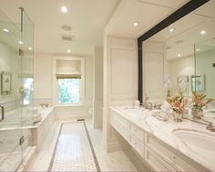 i like the large amount of counter space on this double vanity and the wall to wall mirror is nice too