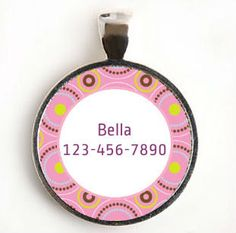 Pink and Yellow Dots round Custom Pet ID Tag for Dog or by LilyMod, via Etsy.