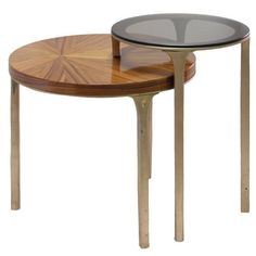 by Brabbu European Modern Brass, Bronze Glass and Timber Luray Side Table Contemporary Home Furniture, Cool Furniture, Contemporary Design, Modern Table, Mid-century Modern, Tree Trunk Coffee Table, Table 19, Silver Table, Vintage Table