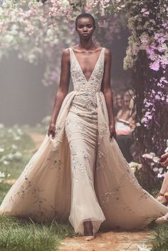 PSSS1833 - Fishtail gown with floral embroidery and overskirt
