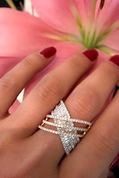 unique engagement rings pave diamond band rose white gold