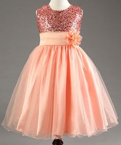 Sweet Sleeveless Round Neck Sequin Embellished Flower Princess Dress For Girls
