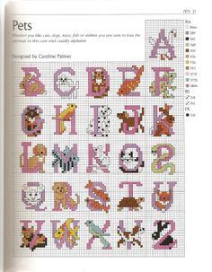 Alfabeto de mascotas, para punto de cruz.