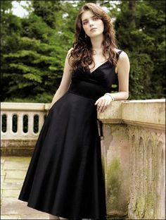 Vneck Satin Tea Length Bridesmaid Dress