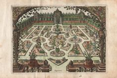 Dutch Garden, 1614, From Hortus Floridus - One of the earliest florilegia,  Hortus Floridus contains realistic and delicate prints created by Crispin van de Passe ll, a member of a famous family of Dutch artists. Most of the flowers are tulips, hyacinths, crocuses and other bulb plants, a popular enthusiasm of the then increasingly prosperous Dutch citizenry.