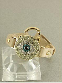 Rhinestone Evil Eye leather Bracelet Tan by DiamondBarBoutique