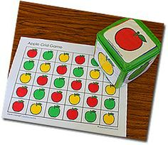 apple grid games charts, cubes, apples, crosses, bingo, game, blog, preschool, apple pies