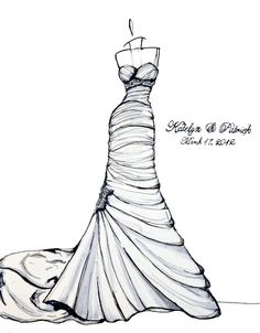 Personalized Wedding Dress Sketch by abgraham on Etsy
