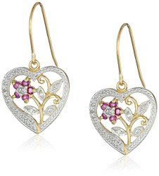 Yellow Gold Plated Sterling Silver Diamond Accent Floral Dangle Earrings | Asian Crafts Shop