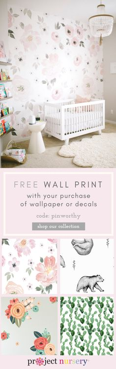 From feminine and floral to playful to boho chic and everything in between, shop over 100 wallpaper + wall decal options to find the perfect look for your baby's nursery!