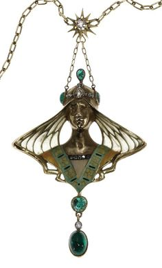AN ART NOUVEAU ENAMEL, EMERALD, DIAMOND AND GOLD NECKLACE   The gold link chain suspending a pendant depicting a female with gold and plique-a-jour enamel hair, green and yellow enamel dress and cabochon emerald, deep color, included, rose and old mine-cut diamond accents, mounted in 18k gold, 18 ins., with French assay marks