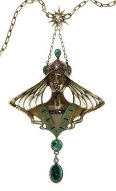 AN ART NOUVEAU. Oro de 18kts. Esmeraldas, diamantes, y esmeraldas.