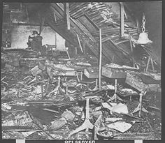 A firefighter inspects one of the classrooms after the fire. Our Lady of Angels