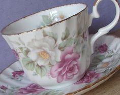Vintage inglesa Bone China taza y platillo, taza de té de la regencia, taza de…