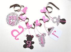 Leopard Print Baby Shower Decorations | Pink and grey leopard baby shower decorations girl banner by ...