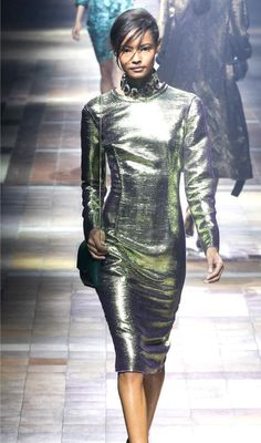 "NWT $3495 SALE! LANVIN ""RITA ORA BEST GRAMMY GREEN METALLIC DRESS FR 38 / US6 - Dresses"