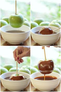 These Easy Homemade Caramel Apples taste a hundred times better than anything you can buy. Make a dozen apples in less than an hour! Apple Recipes Homemade, Homemade Caramel Apples, Caramel Apple Recipes, Caramel Corn, Gourmet Apples, Caramel Apple Cheesecake, Candy Apples, Easy, Treats