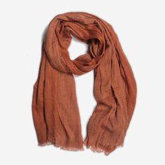 Terracotta bruine sjaal met kreukelig effect