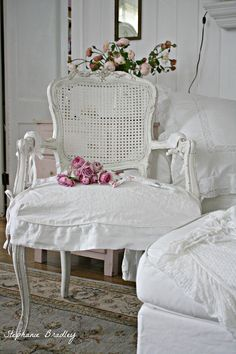 slip cover the two chairs..  Shabby Chic
