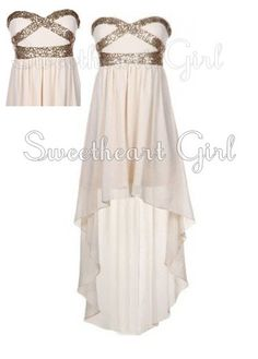 Processing time: 15 business days   Shipping Time: 7-10 business days    Category: Occasion Dresses   Material: Chiffon   Shown Color: white   Silhouette: A-Line   Embellishment: Sequin   Hemline: High-Low   Neckline: Sweetheart   Sleeve Length: Sleeveless   Back Details: Zipper-up   Fully Lined:...