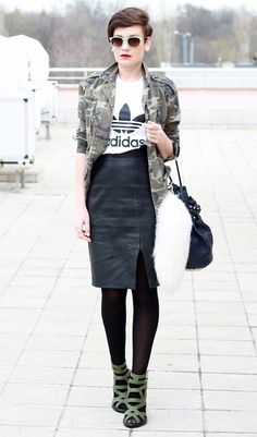 // FASHION // STREET STYLE // SPORT LUXE // SPORT CHIC // ADIDAS // CAMO SHIRT // LEATHER PENCIL SKIRT // BLACK TIGHTS // HEELS //