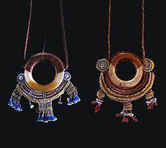Solomon Islands | Breast ornament ~ 'Bakiha' ~ Shell, teeth, beads, buttons | Left) Vella Lavella Island.  Owned by Chief Ingova of Roviana Lagoon.  Collected by Admiral Davis 1892 - 93   and Right) Tambatamba village, Choiseul island.  ca. 1920/30s