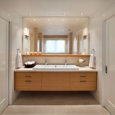 Large Rectangular Mirror With Shiny Wall Lights Bright Ceiling Lights Floating Wood Bathroom Vanity Solid Marble Floor #modern style
