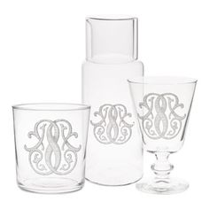 Glassware - Tableware -  Love the water pitcher and glass for the guest room bed side table.