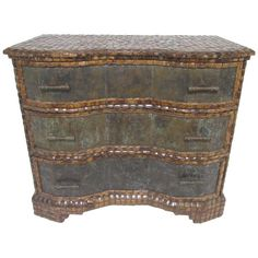 Maitland-Smith Etched Bronze and Coconut Shell Commode, circa 1970s 1